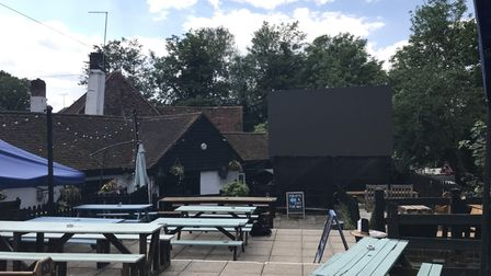 The beer garden at the Fighting Cocks.
