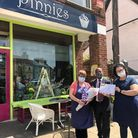 Pictured are: Ann, Cllr Kadewere and Rica Scott outside Pinnies in Godmanchester.