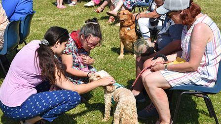A dog being blessed as the special outdoor Pets Service was held on the field outside Pakefield Church Hall on Sunday.