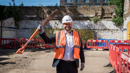 Mayor Glanville on the site of the Hackney Central redevelopment as work starts.