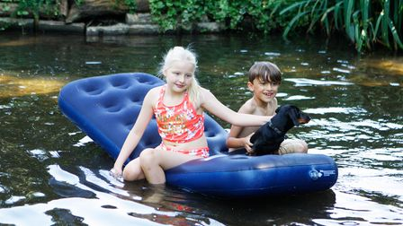 Daisy Costa , 11, and Arthur Campbell, 7, on the River Ver.