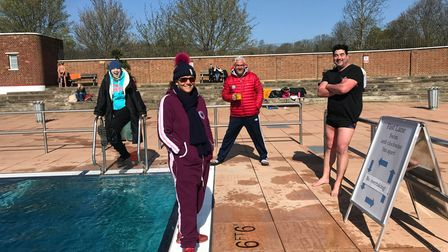 The Parliament Hill Lido swimmers at the Lido itself ahead of their channel relay swim