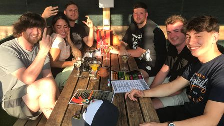 A group of friends gathered at Gonzo's in Norwich on Freedom Day as Covid restrictions were lifted.