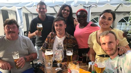 The Behan family from Ireland enjoyed a drink at the Woolpack in Norwich on Freedom Day.