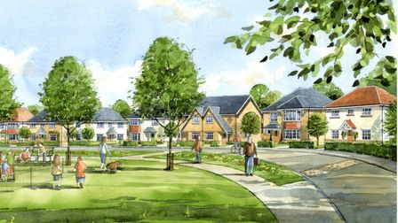 Artist's watercolour impression of a proposed new housing development on the outskirts of Stevenage