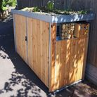 Green Roof bin store at Welwyn North with insect hotels