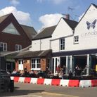 Temporary seating area outside Cinnabar in Stevenage Old Town High Street