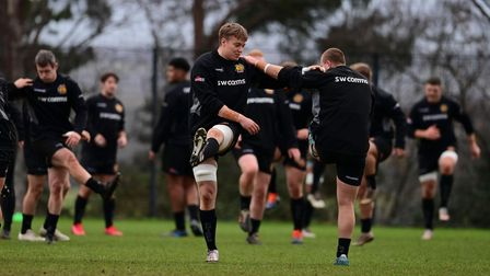 Richard Capstick of Exeter Chiefs during an Exeter Chiefs training session at Sandy Park on Dec 9,