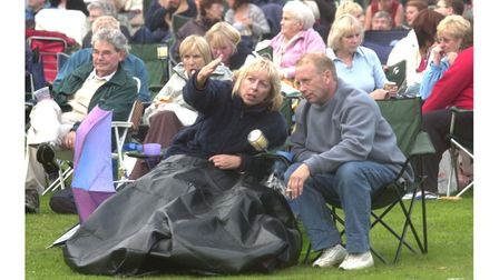 Hundreds of people enjoyed Prom in the Park in Christchurch Park, Ipswich, in 2005, despite early rain