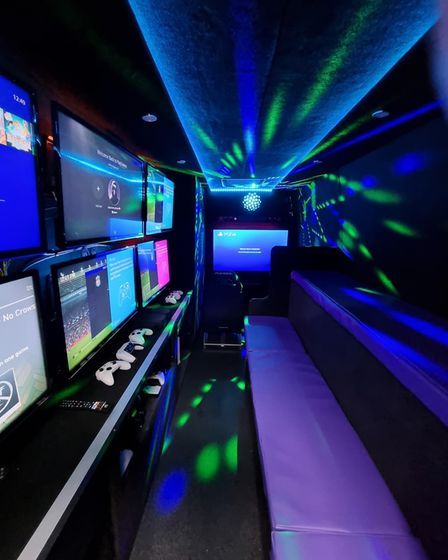 Inside the Playerzone van which features a number of gaming systems for youngsters to play with