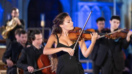 Violinist Nicola Benedetti performing in St Albans Cathedral.