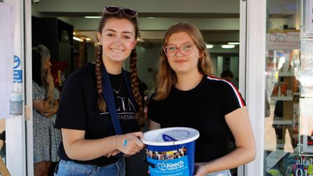 Evie Shanley, 16, and Eliza Harris, 12, at Alta Hairdressers, which raised more than £700 for Keech Hospice Care