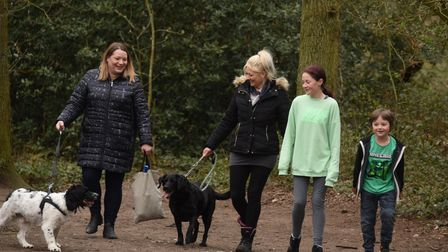 Suzi Clarke, centre, is out meeting with friends at Mousehold for the first time after shielding dur