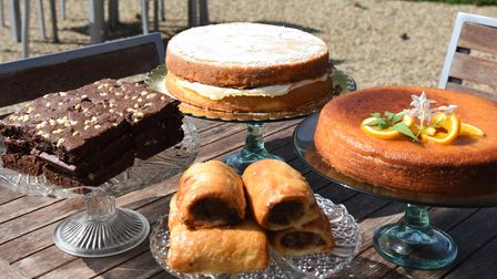 Cakes and sausage rolls at Martha's Barn Otley
