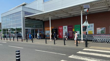 Shoppers at Sainsbury's supermarket in Costessey.