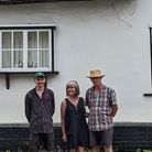 J. P. Lewis, Catherine and their son Charlie at the Barkway cottage