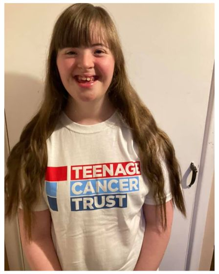 Keeley Thomas from Fowlmere practising for her Karaoke-a-thon for the Teenage Cancer Trust