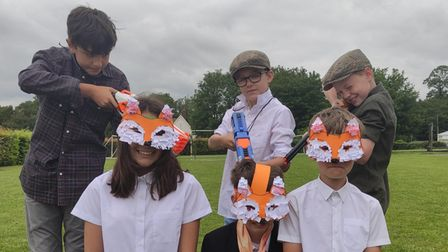 Students at Debden Primary Academy, Debden, Essex in their masks for the Roald Dahl play called Fantastic Mr Fox