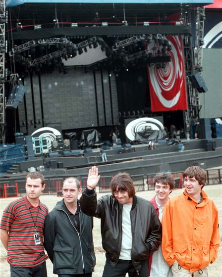 Oasis pictured August 9, 1996 ahead of their performances at Knebworth Park in Hertfordshire.