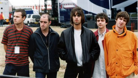 Oasis pictured August 9, 1996, ahead of their performances at Knebworth Park in Hertfordshire.