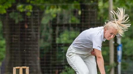 Amelia Kemp in action for Knebworth Park Cricket Club