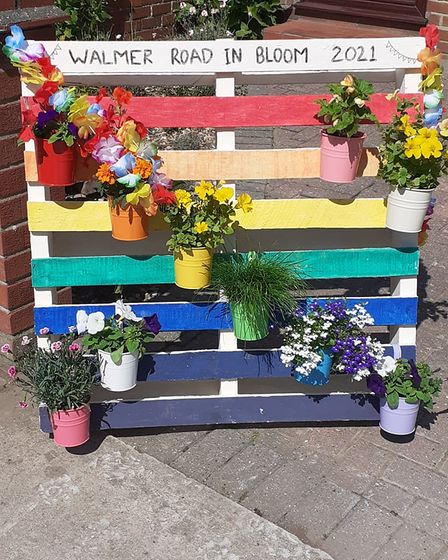 Walmer Road was awash with displays for Lowestoft in Bloom 2021.