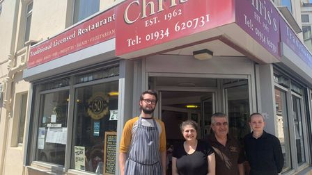 Owners Chris and Milly Constantinou, waitress Toni-Ann and Jordan Browning.