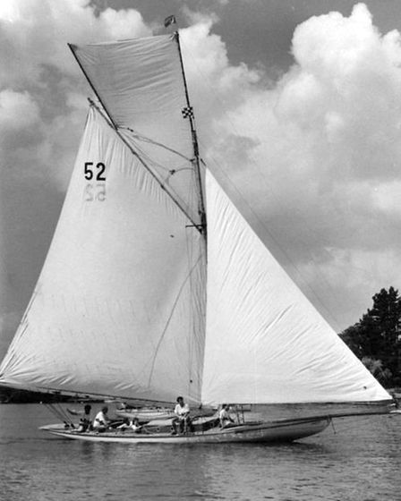 Recently rebuilt Broads yacht Maidie racing at the Waveney and Oulton Broad Yacht Club.