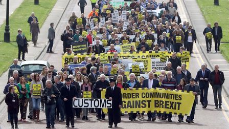 """An archive photograph of anti-Brexit group """"Border communities against Brexit"""" outside Stormont in"""