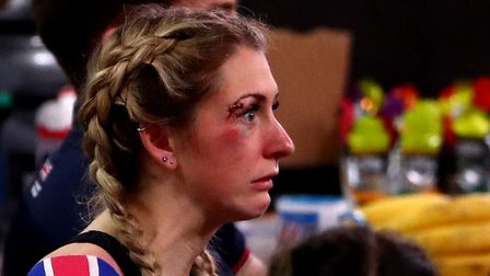 Great Britain's Laura Kenny in the team area after crashing out of the women's omnium scratch race d