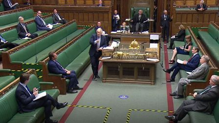 Prime Minister Boris Johnson speaks during Prime Minister's Questions in the House of Commons. Photo