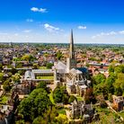 Aerial view of Norwich Cathedral located in Norwich, Norfolk, UK