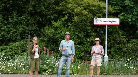 Sue Cox, Hugh Crossley and Sue's friend on the platform at Somerleyton. Picture: Sarah Lucy Brown