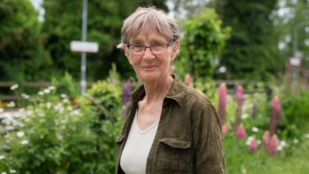 Sue Cox, who lives in the station house of Somerleyton train station, has created a platform of bloom
