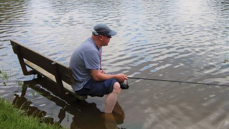 A fisherman throwing himself into the task at the Heath last week