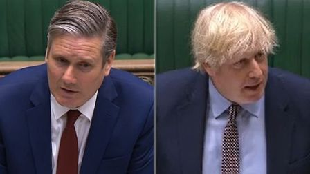 Opposition leader Sir Keir Starmer and prime minister Boris Johnson during Prime Minister's Question