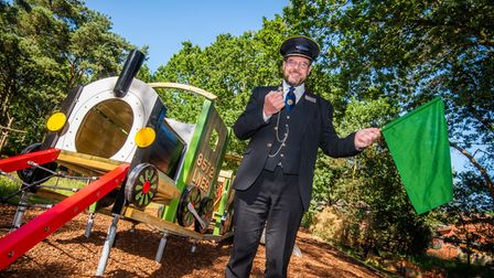 North Norfolk Railway's general managerAndrew Munden officially opens the new play facilities at Kelling Heath Holiday Park.