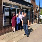 Grant Shapps with Off Broadway Travel staff in Welwyn