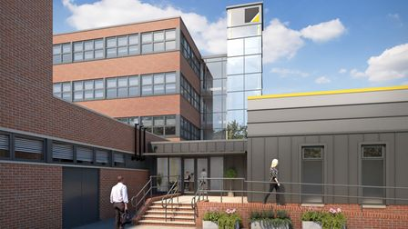 External clinic entrance at the University of Suffolk's new health and wellbeing quarter.