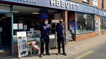 Jeff and Chris Abbott outside their shop in Ottery