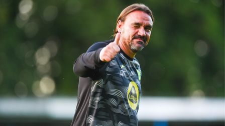 Daniel Farke waves to the crowd after the game King's Lynn Town v Norwich
