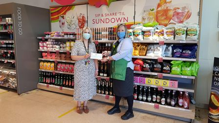 Julie Marish from Waitrose in Sidmouth with Cara from Sidmouth College