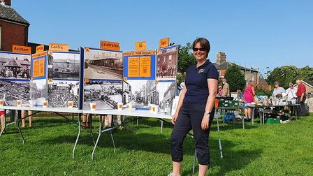 Jayne Andrew at the with a display that's part of theAylsham Heritage Centre 10th anniversary exhibition.
