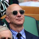 Jeff Bezos and Lauren Sanchez on day thirteen of the Wimbledon Championships at the All England Lawn