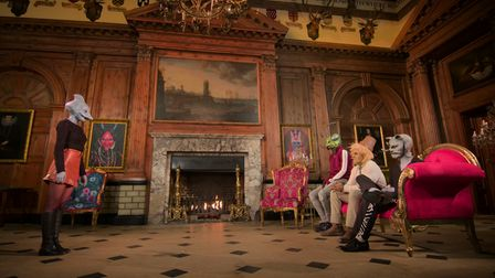 A scene from Netflixdating show Sexy Beasts filmed inside Knebworth House in Hertfordshire.