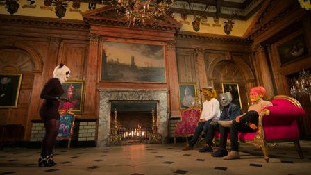 A scene from an episode ofNetflix dating show Sexy Beasts filmed inside Knebworth House in Hertfordshire.