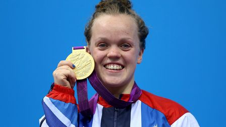 File photo dated 01/19/12 of Great Britain's Eleanor Simmonds receiving her Gold medal during the pr