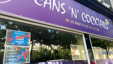 The posters outside Cans 'N' Cocktails on Prince of Wales Road in Norwich.