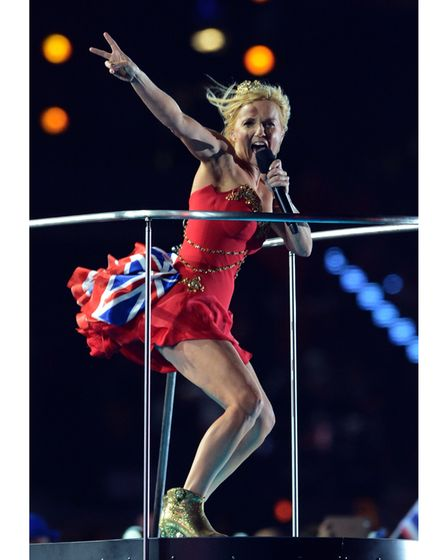 Geri Halliwell of The Spice Girls performs during the closing ceremony of the London 2012 Olympic ga