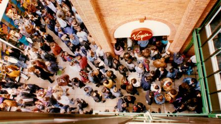 Crowds gathered outside the new Virgin Megastore in Castle Mall, Norwich before the grand opening in 1993.